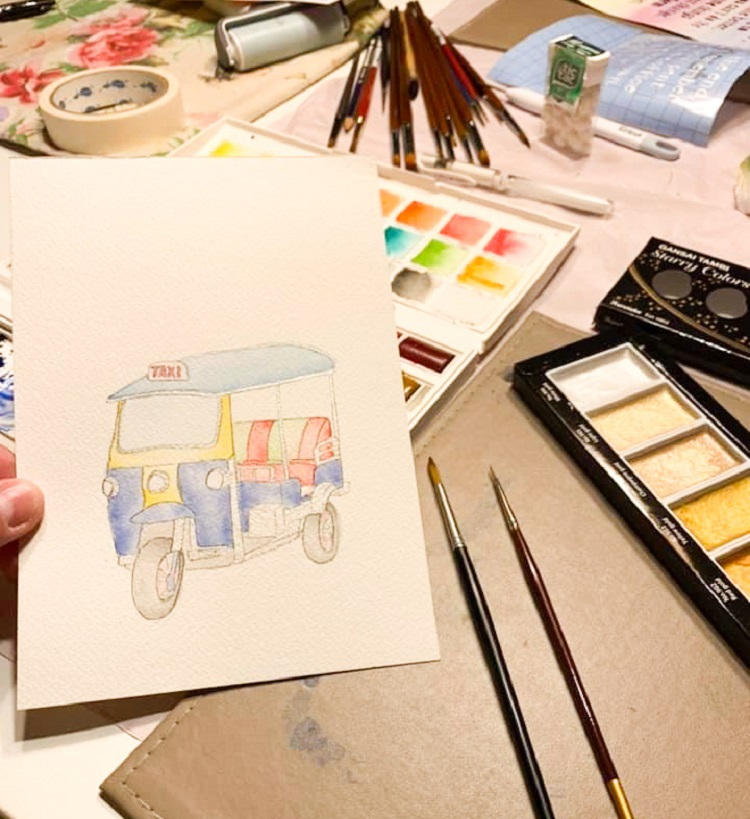 A Travel Journal For Kids - Andrzej Ejmont - Painting the illustrations